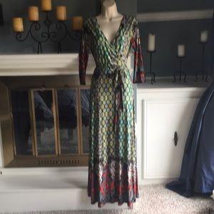 Wrap Style maxi dress belted paisley boho